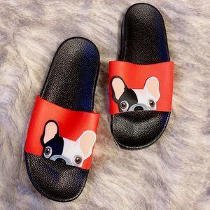 Shoes - SLIDES | Red French Bulldog NWOT
